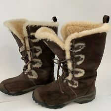 The North Face Women Primaloft Winter Boots 6 Brown Faux Suede Mid Calf Y23