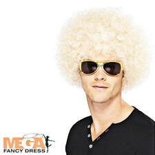 1970s Blonde Afro Wig Adults Fancy Dress 70s Funky Mens Ladies Costume Accessory