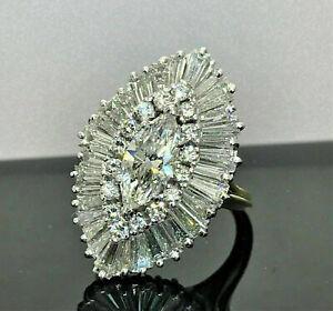 Fine Ballerina Engagement Wedding Ring 1.21 Ct Marquise Diamond 14K White Gold