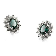 18K WHITE GOLD PLATED EMERALD GREEN CZ & AUSTRIAN CRYSTAL CLIP-ON EARRINGS