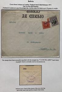 1917 Avicaya Bolivia Censored Cover To London England Cancelada Hand Stamp