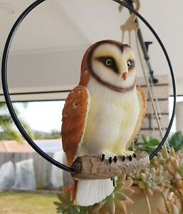 Owl on Log in Metal Ring Hanging Bird Ornament Statue Sculpture Garden Décor