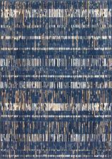 Textured Navy Blue Rug | Geometric Striped Living Room Rug | Hallway Runner Mat