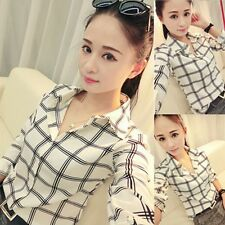 Women Career Office Lady Plaid Shirt Casual Long Sleeve Blouses Fitted Tops