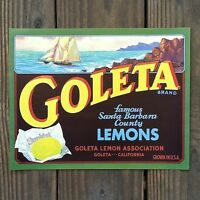 Vintage Original GOLETA SUNKIST LEMONS Citrus Crate Box Label 1930s California
