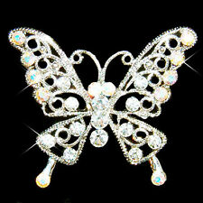 BUTTERFLY made with Swarovski Crystal Bridal Wedding Sash pin Brooch Jewelry NEW