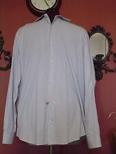 Men's Banana Republic Size 16-16.5 Blue/Black/White Pinstripes LS Dress Shirt
