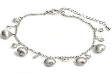"""Amazing Bracelet with Charms Sterling Silver 925 Jewelry Adjustable up to 10"""""""