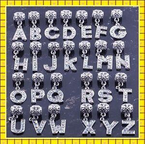 26 Letter Rhinestone Alphabet Dangle Pendant European Bead Charms Fit Bracelet