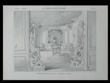DECORATION SALON STYLE LOUIS XV - 1901 - PLANCHE ARCHITECTURE - HENRI FIVAZ