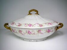 D & C France Limoges Pink Floral Soup Tureen by Bernardaud & Co.