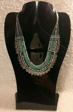 ACCESSORIZE 6 strand silver tone real turquoise and grey beads necklace BNWOT