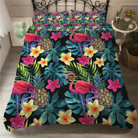 Tropical Plant Leaves Cactus Flamingo Bedding Duvet Quilt Cover Set Single Queen