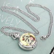 Pendant Necklace Womens Girls Gift Retro Antique Pocket Watch Chain Quartz