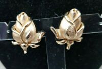 1950s Signed Crown Trifari 3D Relief Brushed goldtone Rose Clip-on Earrings