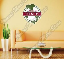 "Made Italy Italian Country Map Grunge Wall Sticker Room Interior Decor 22""X22"""