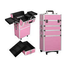 4in 1 Pro Aluminum Rolling Makeup Case Salon Cosmetic Organizer Trolley Set