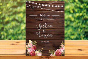 Printable Custom Personalised rustic wood Wedding WELCOME SIGN with fairy lights