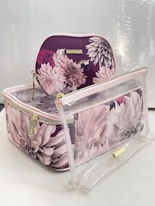 Ted Baker Three Wash Bags Vanity Cases Make Up Bags Maroon Floral