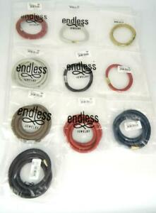 10pc JLO ENDLESS Jewelry Multi Color Leather Wrap Charm Bracelets -