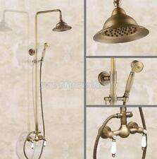 Antique Brass Wall Mounted Bathroom Rainfall Shower Faucet Set Pan115