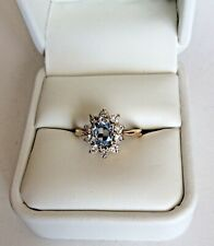 PRE OWNED 9CT YELLOW GOLD DRESS RING. SET WITH BLUE TOPAZ & CUBIC ZIRCONIA (B52)