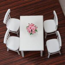 Mini 1:12Dollhouse Furniture 5Pcs White Wooden Dining Table Chair Model Set Cute