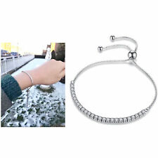 Women's 925 Sterling Silver Austrian Crystal Bead Clasp Bracelet Chain For Charm
