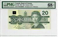 Canada $20 Dollars Banknote 1991 BC-58b PMG Superb GEM UNC 68 EPQ