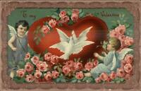 Valentine Cupids Giant Heart Doves & Roses c1910 Postcard
