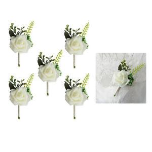 5x Rose Flower Brooch Wedding Boutonniere Corsage for Groom Groomsmen Bride