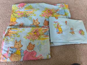 Vtg Peter Rabbit Beatrix Potter Wamsutta complete 3 Pc Set Twin Bed Sheets
