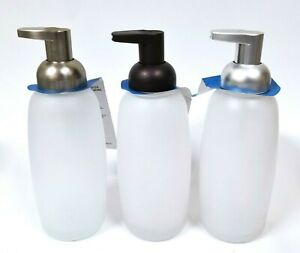 NEW INTER DESIGN FOAMING PUMP GLASS NICKEL, BRONZE,SILVER SOAP DISPENSER