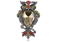 Puff Owl Pin Brooch Big Multicolor Antique Crystal Rhinestones Topaz Body