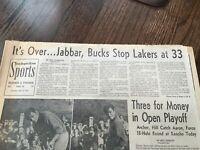1972 Los Angeles Lakers 33 GAME WIN STREAK LA Times Newspaper Wilt Chamberlain