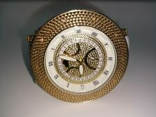 """Techno White Big Face Diamond Watch Unisex with white leather band 9"""""""