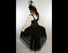 Burleska UK Steampunk Goth Pirate Wedding Cascading Black Lace Hi-Lo Skirt S/M