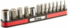 New TITAN TOOLS 13 Piece HEX Key Bit Set-SAE & Magnetic Rack- 16111  -Free Ship