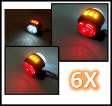 6 X LED RED WHITE AMBER ORANGE SIDE MARKER LIGHTS FOR TRUCK TRAILER LORRY 24V