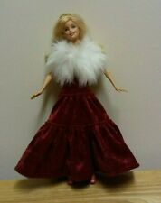 "11 1/2"" Doll Clothing Red Velvet Gown & White Faux Fur Wrap"