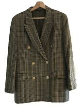 vintage St Michael 100% Wool Plaid Double Breasted Blazer Size 14 Gold Buttons