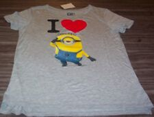 WOMEN'S TEEN DESPICABLE ME I LOVE MINIONS T-shirt LARGE NEW w/ TAG