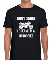 I DON'T SNORE MOTORBIKE FUNNY T SHIRT MENS TEE FUNNY MOTORCYCLE LOVER GIFT IDEA