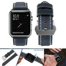 PASBUY 79B Genuine Leather Strap Band for Apple Watch Series 3 2 1 42mm Blue