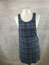 Asos Grey Check Print Wool Blend Sleeveless Scoop Neck Pinafore Dress Size S
