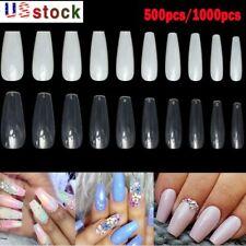 500pc/Set False Nail Tips Acrylic Full Cover Long Coffin Fake Nails Art Manicure