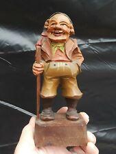 "Vintage Anri Hand Carved Wood Gypsy Hiker Man Figure Incredible Detail 7.5"""