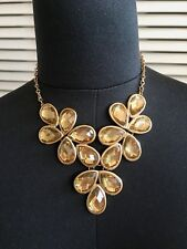 Forever 21 Bling Statement Crystal/Rhinestone Necklace Gold Large L NEW!