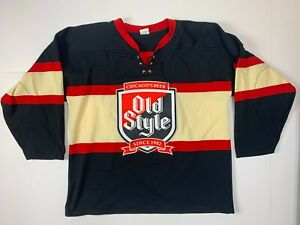 Vintage Athletic Knit Old Style Chicago's Beer Hockey Jersey Size XL Lace Up