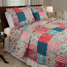 Americana Quilt Set Full Queen Patchwork Design Red Blue Floral Country Bedding